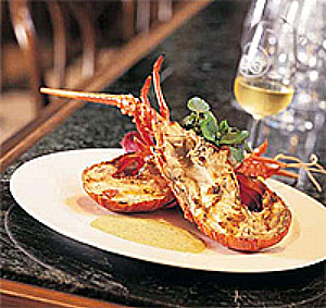 West Coast crayfish served in gourmet style at Draaihoek Restaurant