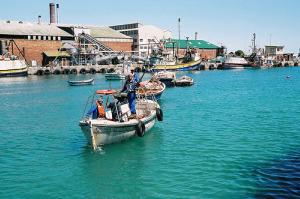 Picture of the renowned fishing and crayfish seaside village Lambertsbay on the West Coast of South Africa